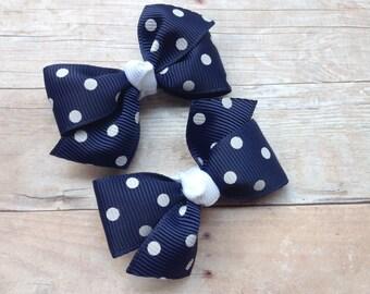 Navy blue pigtail bows, hair bows, bows, baby bows, hair bows for girls, toddler bows, hair clips, baby hair bows, baby hair clips, hairbows