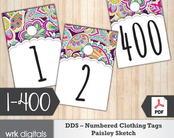 Dot Dot Smile Clothing Number Tags, 1-400, Pop-Up Boutique, Fashion Consultant, Paisley Sketch Design, Direct Sales, INSTANT DOWNLOAD