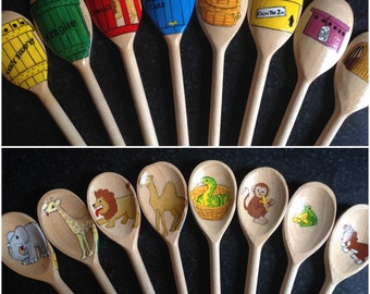 Story spoons inspired by Dear Zoo..imaginative play, sensory play, learning aid, books, wood, hand painted, story telling, zoo animals,