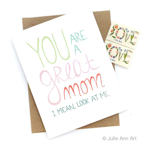 Funny Mothers Day Card You Are A Great Mom