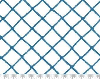 Blue & White Fish Net Look Twill Fabric, Nautical Cotton Home Decor Fabric, Moda Seascapes 19614 11T, Deb Strain, Light Weight Twill