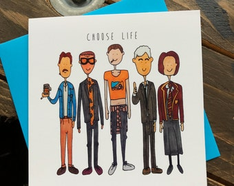 Trainspotting movie quote illustrated greeting card - Choose life