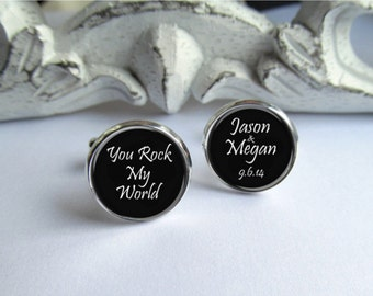 Groom Cufflinks, Mens Personalized Cufflinks, Wedding Cufflinks