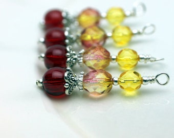 Red with Lemonade and Yellow Czech Bead Dangles with Silver Bead Dangle Charm Drop Set - Earring Dangle, Charm, Drop, Pendant