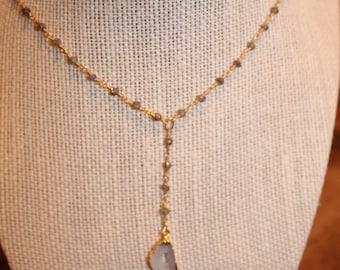 Gold and Labradorite Rosary Quartz Y Necklace
