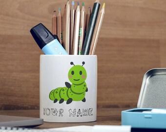 Personalised Caterpillar Cute Animal Children Customizable Pencil Pot, Pencil Holder, Pen Pot, Pen Holder, Gift Idea, Children Gift, PPC036