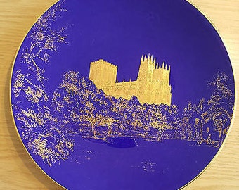 Stunning Royal Worcester Plate featuring York Minster - Gold on Deep Blue