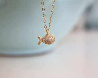 Dainty Gold Necklace, Tiny gold fish necklace, gold necklace, simple gold necklace on 14k gold filled chain, pisces necklace, swimmer gift