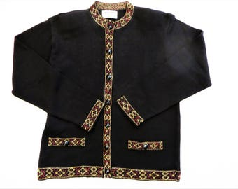 Vintage Black Cardigan Sweater, Gold and Red Metallic Trim, Deco Geometric Trim, Size Petite Large, Retro Cardigan Knit Sweater