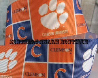 "3 yards 1 1/2"" Clemson tigers grosgrain ribbon"