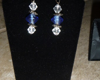 Blue and Clear Earring and Bracelet Set