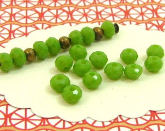 95 pistachio green donuts 4 * 3 mm DO47 faceted glass beads
