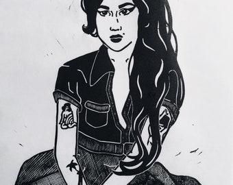 Amy Winehouse Linocut Print