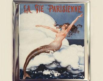 Parisian Mermaid Cigarette Case Business Card ID Holder Wallet French Art Deco Nautical Flapper Version Three