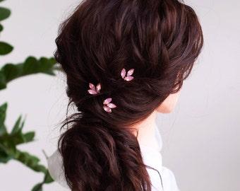 Rosegold Bridal hair pins-Wedding hair pins- pink Crystal hair pins- Set of 3 hair pins for bride - Bridesmaid gift- hair pins for prom