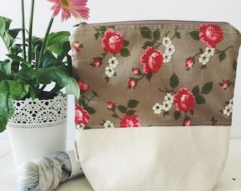 Garden rose project bag/ knitting project bag/ craft bag / cosmetics bag / multi-purpose bag