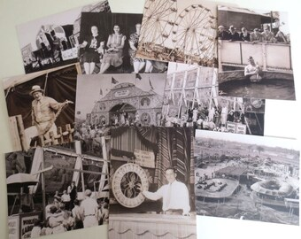 1937 Carnival Postcards - Set of 10 Historical Photos
