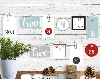 Advent Number Tag Christmas Printable