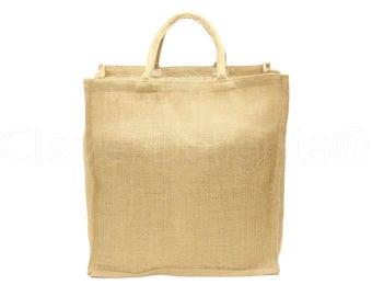 "1 - Large Burlap Shopping Bag - 16"" x 17"" x 8"" - Premium Natural Jute Burlap - Soft Webbed Cotton Handles - Strong Tote Book Bag Sack"