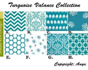Blue Valance. Turquoise  Valence.Blue Window Treatment. Turquoise Drapery . Turquoise Valance window curtain.