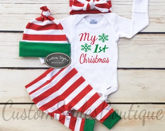 Gender Neutral Baby's First Christmas Outfit, Red And White Striped Leggings & Hat with Green Cuffs, Headband, Baby Boy, Baby Girl