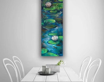 Lily Pad Pond Original Painting on Canvas 12 x 36 Nature Wall Decor Narrow Tall Vertical Art Green Blue Contemporary Floral Flower