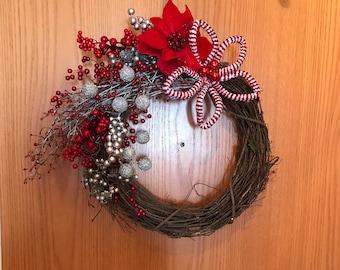 Holiday Grapevine Wreath, Christmas Grapevine Wreath, Rustic Holiday Wreath, Red and Silver Wreath, Holiday Door Decor, Christmas Door
