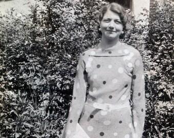 vintage photo Polka Dot Dress Woman w Purse