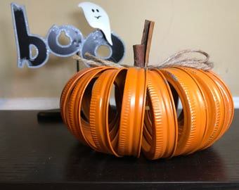Mason Jar Ring Pumpkin with Cinnamon Stick Stems