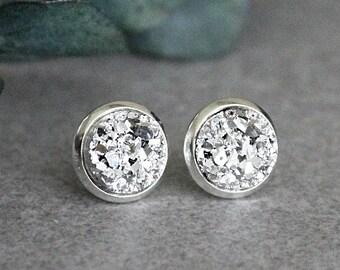 Silver Stud Earrings, Silver Druzy Earrings, Silver Earrings, Silver Post Earrings, Silver Druzy Studs, Silver Bridesmaid Earrings