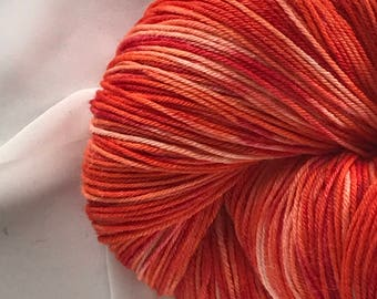 """SPECIAL!  Hand Dyed 100% Superfine Merino 8oz 450 yds - """"Tangelo"""""""