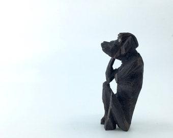 Tiny Vintage African Carving - WISE MONKEY - Mystic Apes - Emoji - Monkey Sculpture - African Art - Kikazaru Carving - DAMAGED & Beautiful