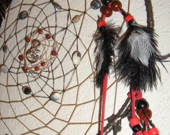 Dragon's Keep Large Dreamcatcher,Extra Large native woven, opals,agate, carnelian designer leather, dreamcatcher made in black and red