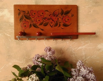 Wooden hanger  2 Pegs, Vintage Wooden Rack with a Small Shelf, USSR Soviet Wooden Rack, Country Kitchen, Nursery Decor, Rustic Wall Hanger
