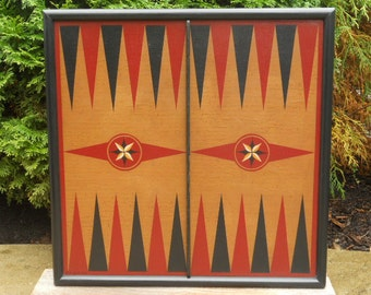 "19"", Backgammon, Wood, Game Board, Wooden, Game Boards, Primitive, Folk Art, Board Game, Hand Painted"