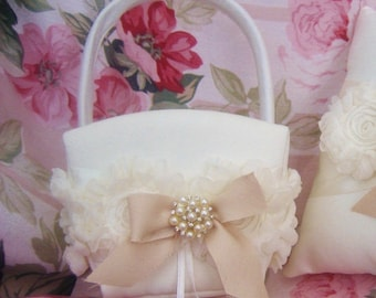 Flower Girl Basket Shabby Chic Vintage Ivory and Cream Custom Colors Wedding Basket