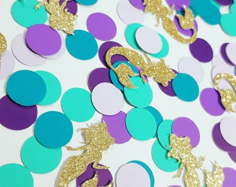 Purple, Teal, Gold or Silver Glitter MERMAID Confetti   Under the Sea Party Decor   Mermaid Party Decorations   Ready to ship in 2-3 days!