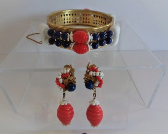 Vintage Miriam Haskell Patriotic Red White Blue Glass Bead Necklace, Bracelet & Earrings Set