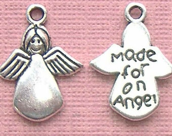 """SALE!! 10 pieces or 50 pieces Tibetan Silver or Gold Plate Lead Free Double Sided """"Made for an Angel"""" Charms"""