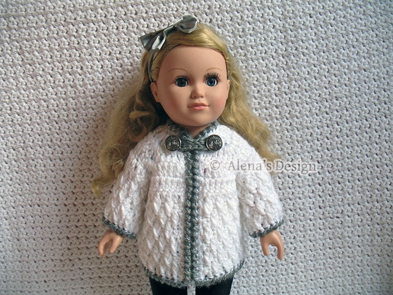 Crochet Pattern 125 Crochet Jacket Pattern for 18 inch Doll Crochet Patterns Diamond Doll Jacket for American Doll Christmas Gift for Girl