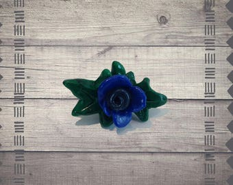 Blue Rose Polymer Pendant