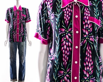 Vintage BOB MACKIE Tuxedo Silk Blouse Wearable Art Grapes Floral Art Deco Silk Blouse Avant Garde Jewel Tone Oversized Medium Large