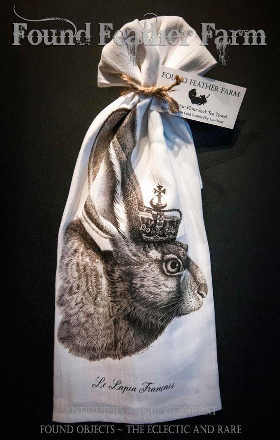 "Printed Cotton Flour Sack Tea Towel with Original  ""The French Rabbit"" Design"