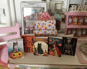 5 Vintage HALLOWEEN GREETING CARDS - Available in 1:6 Scale or 1/12 Scale Miniature