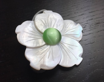 Greenery Mother of Pearl Plumeria Hair Tie