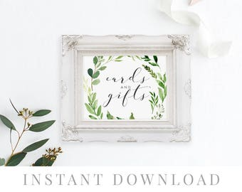 Cards & Gifts Sign, INSTANT DOWNLOAD, Printable Wedding Gifts Sign, DIY Rustic Wedding Sign, Gifts and Cards Sign - Woodland