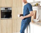 Linen mens costume. Gifts for men. Man's kit. Linen set. Linen pants. Linen shirt. Blue linen set. Pants for men. Mans summer costume. Flax