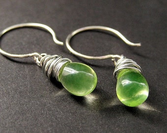 Teardrop Wire Wrapped Earrings in Lemon Lime and Silver. Handmade Jewelry by Gilliauna