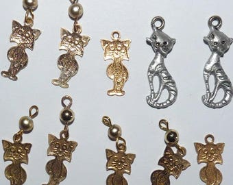 Set of cats gold and silver charm pendant for jewelry making