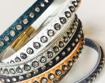 Leather bracelets with swarovksi crystal and magnetic clasp